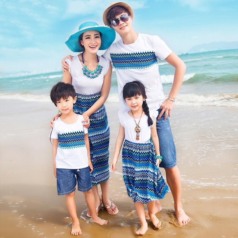 1111dc234c8 Family fashion summer blue and white porcelain print otton family set Mother  and Daughter Dress Dad and Son T shirt