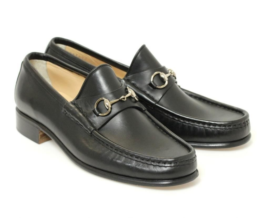 Black Leather Silver Horsebit Loafers