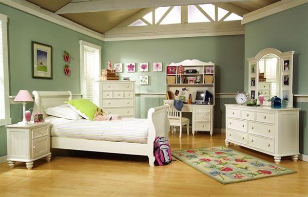 Summer Breeze Cottage Off White 4pc Kids Bedroom Set w/Full Sleigh