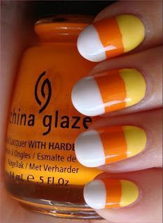 How to paint your fingernails like candy corn for Halloween!...