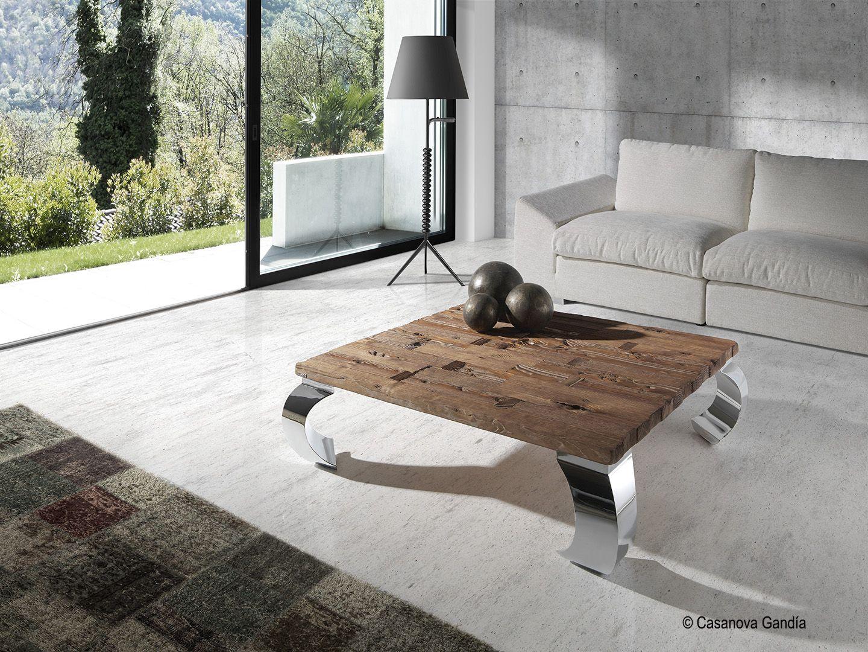 Mesa de centro de roble macizo con exclusivas patas de acero http ...