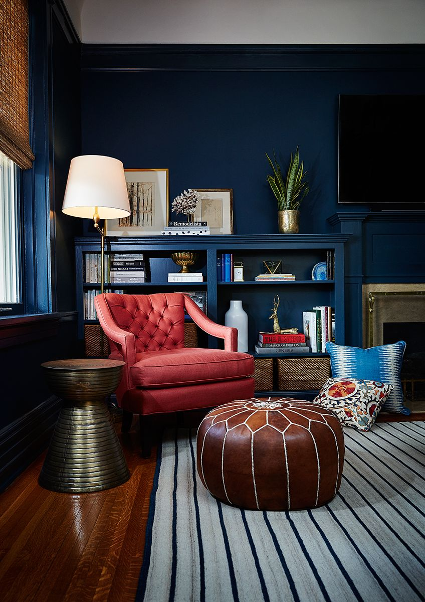 Best Navy Blue Den Study Cozy Reading Nook Corner Painted Trim Coral Home Decor Home Decor 400 x 300