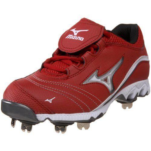 red mizuno softball cleats