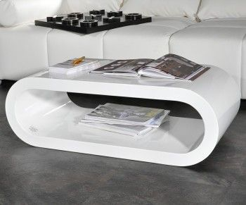 Couchtisch Lounge Club Deluxe 90x45 Cm Weiss Hochglanz Cube Oval