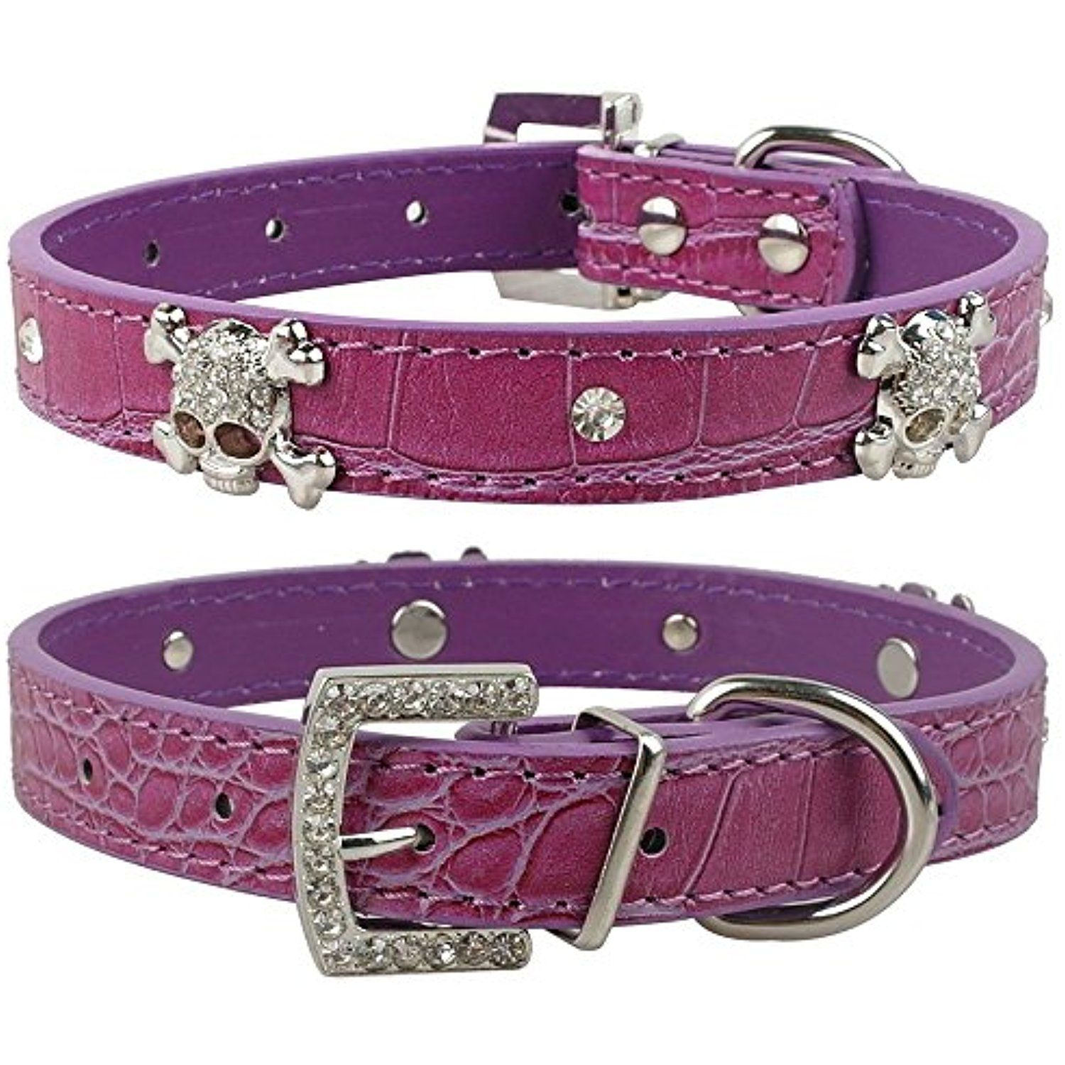 Dogs Kingdom Soft Leather Luxury Crystal Rhinestone Skull