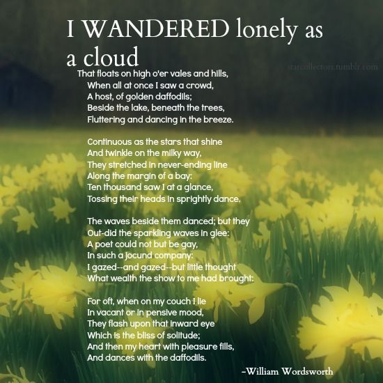 an analysis of the poem i wander lonely as a cloud by william wordsworth Critical analysis of a poem i wander lonely as a cloud by: william wadsworth i wandered lonely as a cloud, wordsworth applies the verse form to articulate.