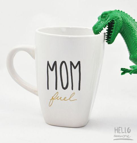 As any mama would know, we could use extra fuel to help us every day. Bold black hand painted typography with gold lettering, this Mom Fuel mug is just for you!  This is a hand painted 12 oz white porcelain square rounded mug. Perfect for your favorite hot drink or a gift for someone special.  ...