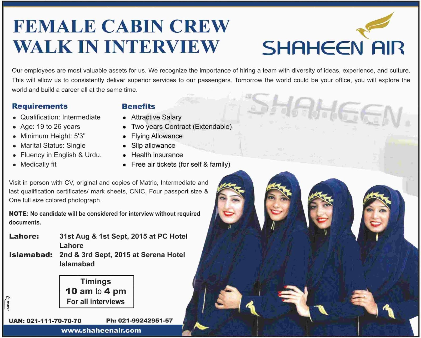 Female Cabin Crew  Air Hostess Jobs In Shaheen Air  Jobs Corner