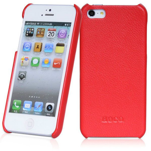 8f06ef466fbe Genuine HOCO Duke Red Leather Rear Cover Case for Apple iPhone 5 5S ...