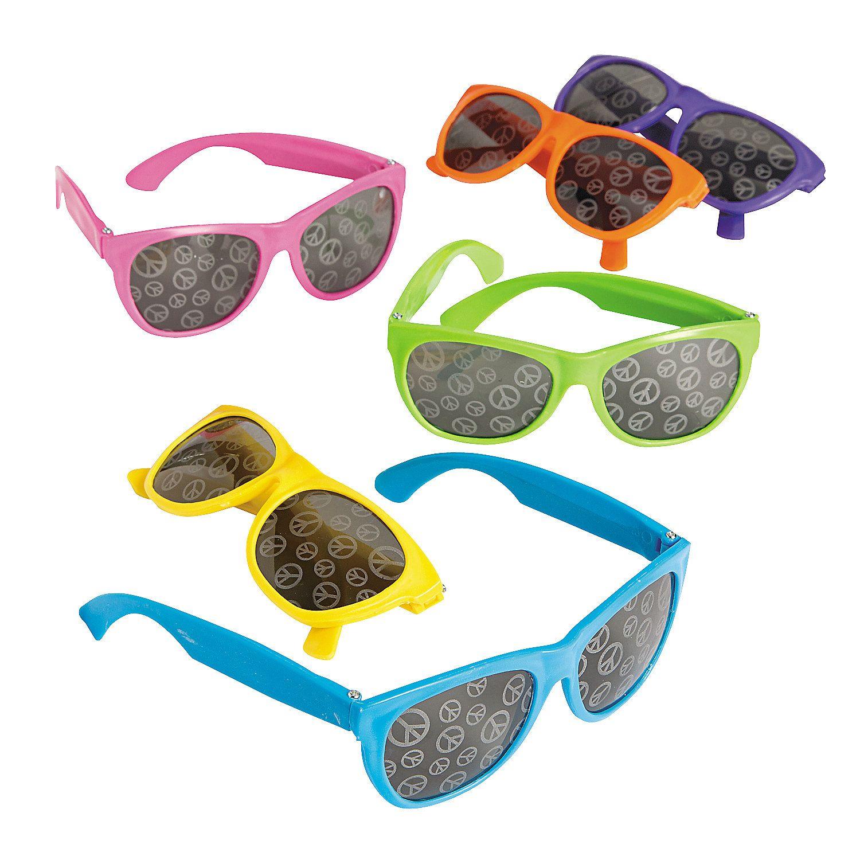 Neon Sunglasses With Peace Sign Mirror Lens (1 Dozen) - Bulk By Fun Express 7EG5OMyMa