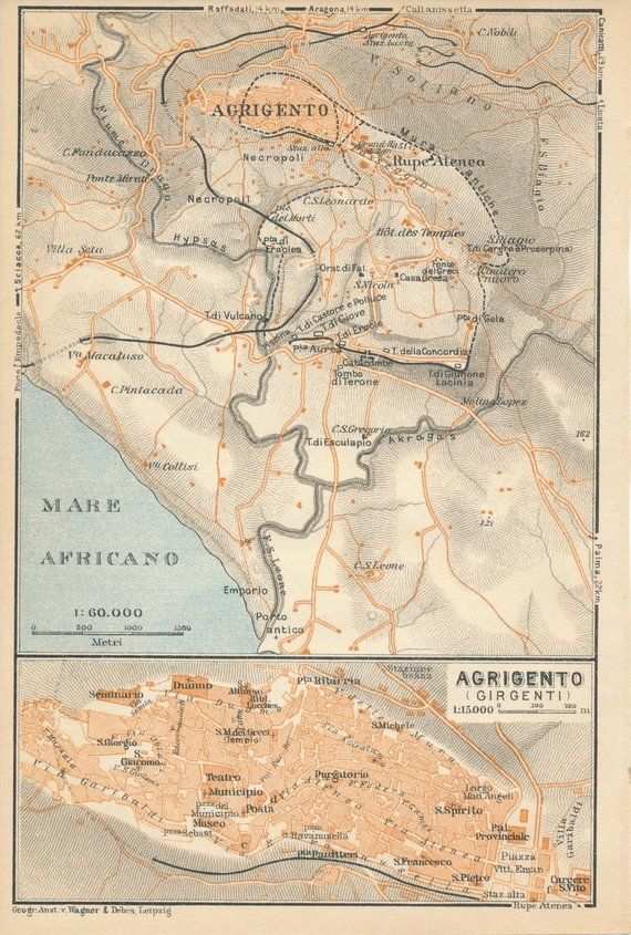 Agrigento Italy Map.1930 Agrigento Sicily Italy Antique Map Products Antique Maps
