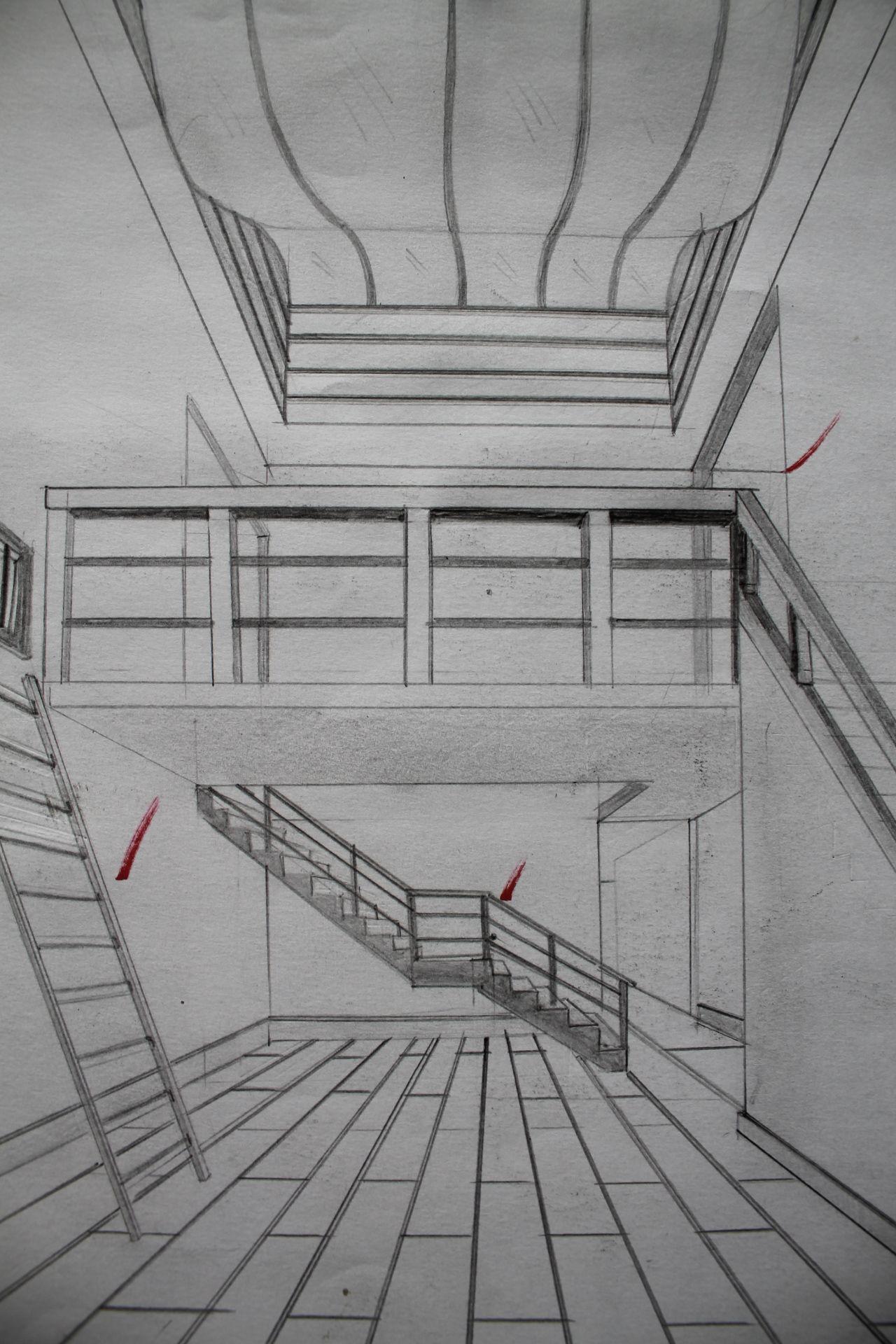 Ejercicio Crear Espacio Con 3 Escaleras A Un Punto De Fuga