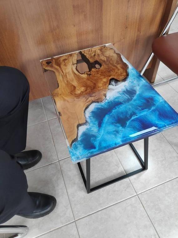 Custom Order Ocean Sea River Coffee Table With Blue