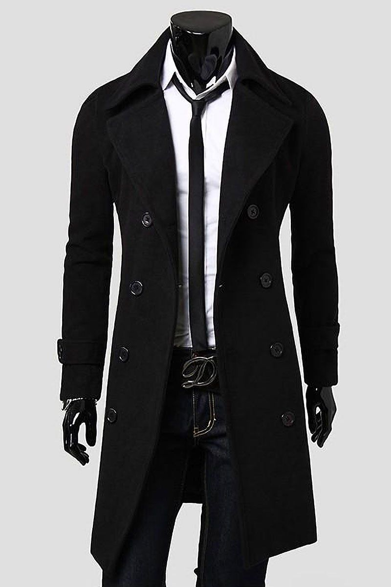 finest selection 5f4fa 1ea9d Casual Long Lapel Trench Coat   YTER VL (369) ;) l   Winter ...