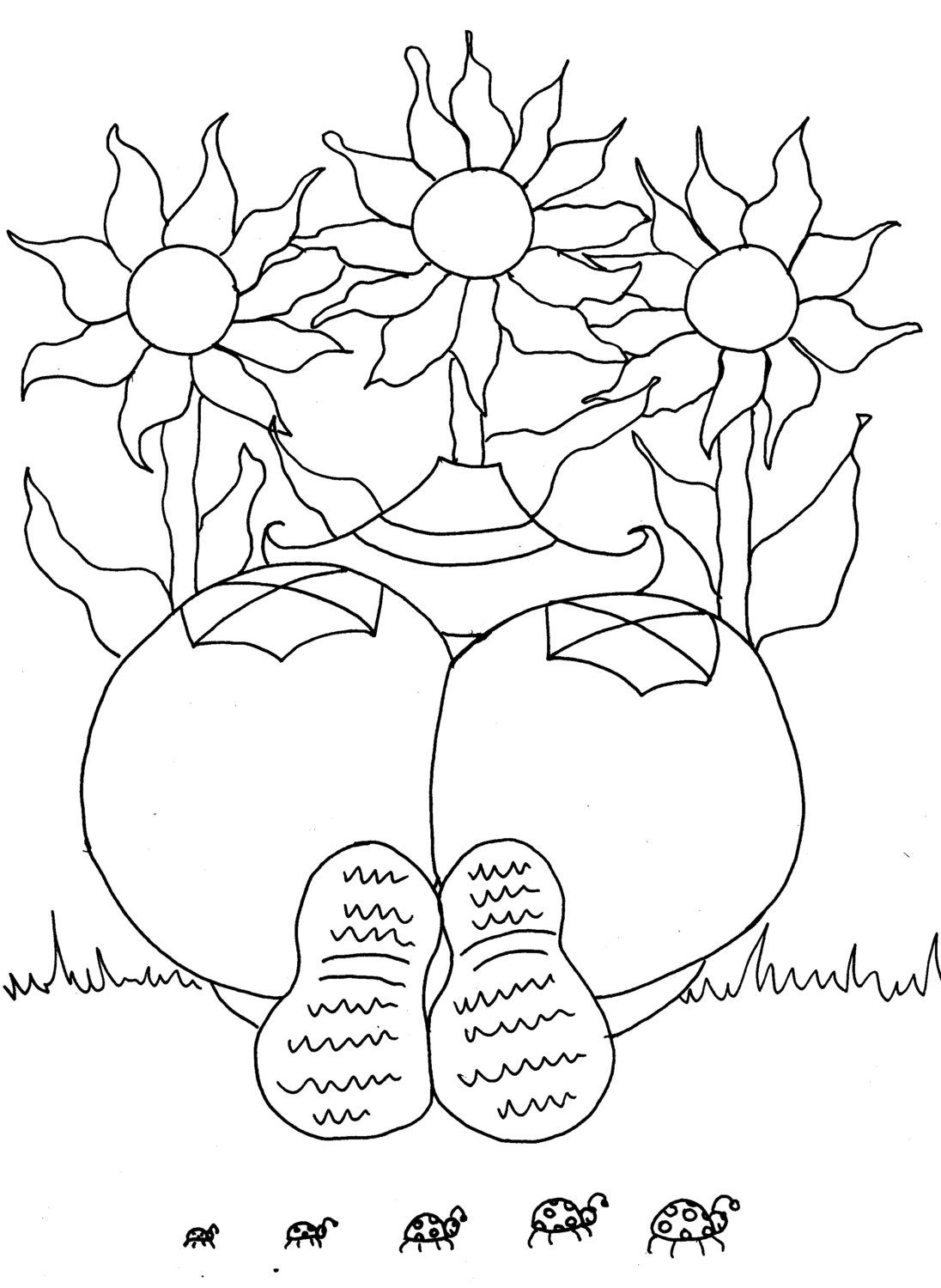 Flower garden coloring pages printable - Sunflower Gardener Girl Funny Adult Coloring Page From Chubby Art Cartoon Diy Printable Coloring Pages Spring Garden Flower Inspiration
