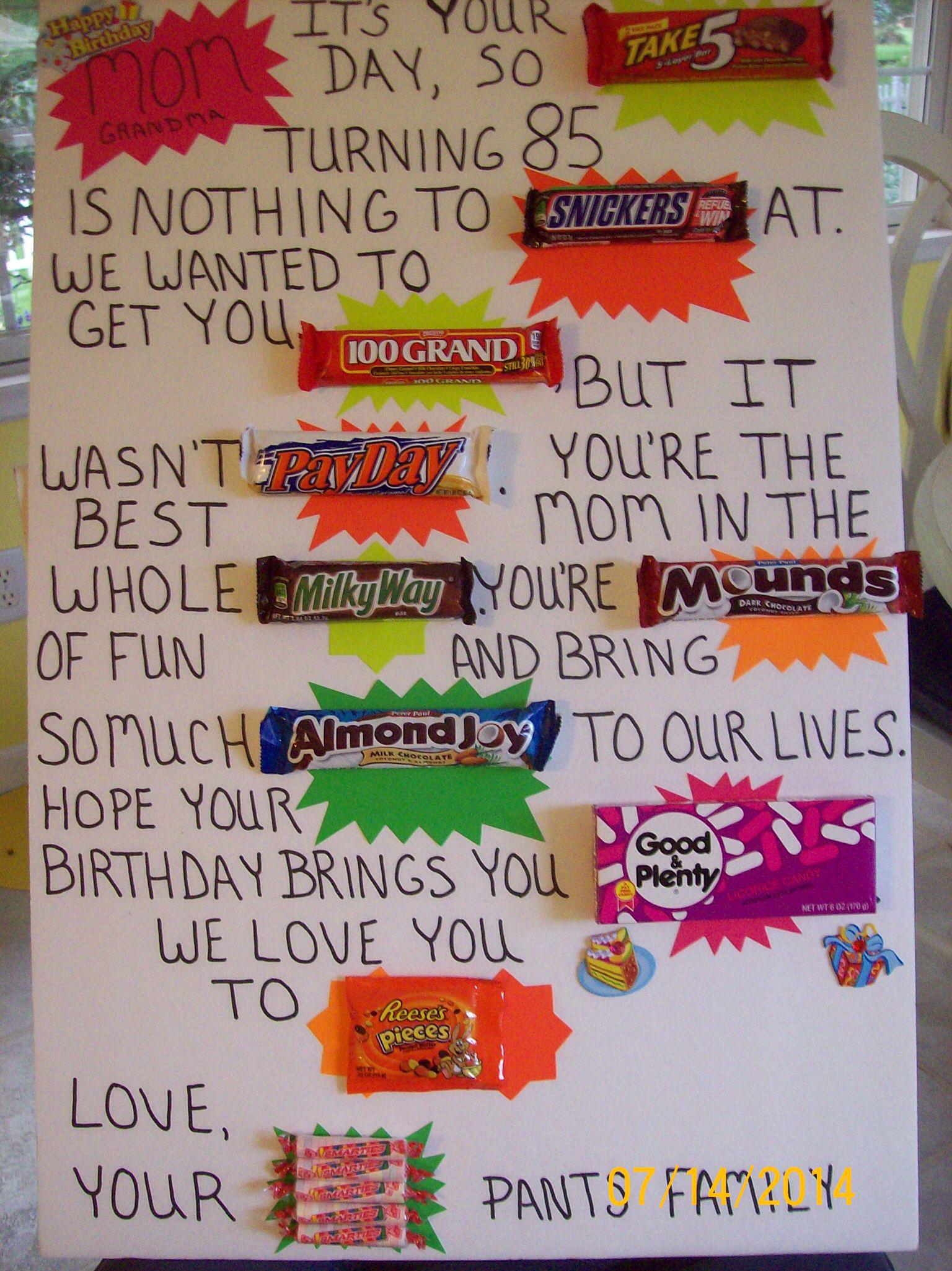 85th birthday candy bar card i made  candy bar birthday