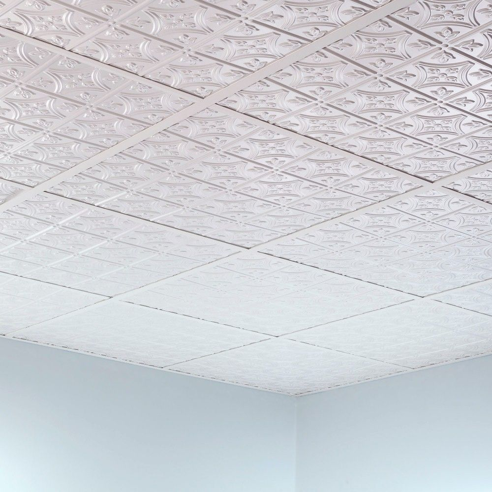 Fasade Traditional Style 1 Matte White 2 Foot X 2 Foot Lay In Ceiling Tile Acoustic Ceiling Tiles Ceiling Tiles White Ceiling