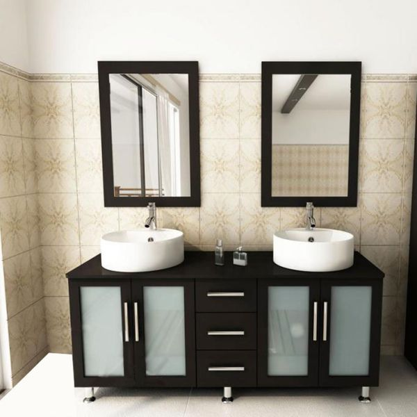 kokols modern double 60 inch free standing bathroom vanity sink mirror combo - Bathroom Sink And Mirror
