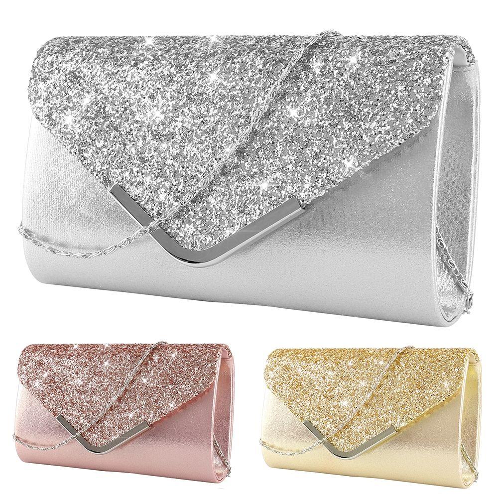 Womens Satin Crystal Glitter Women Clutch Bag Bridal Brides Prom Evening Party