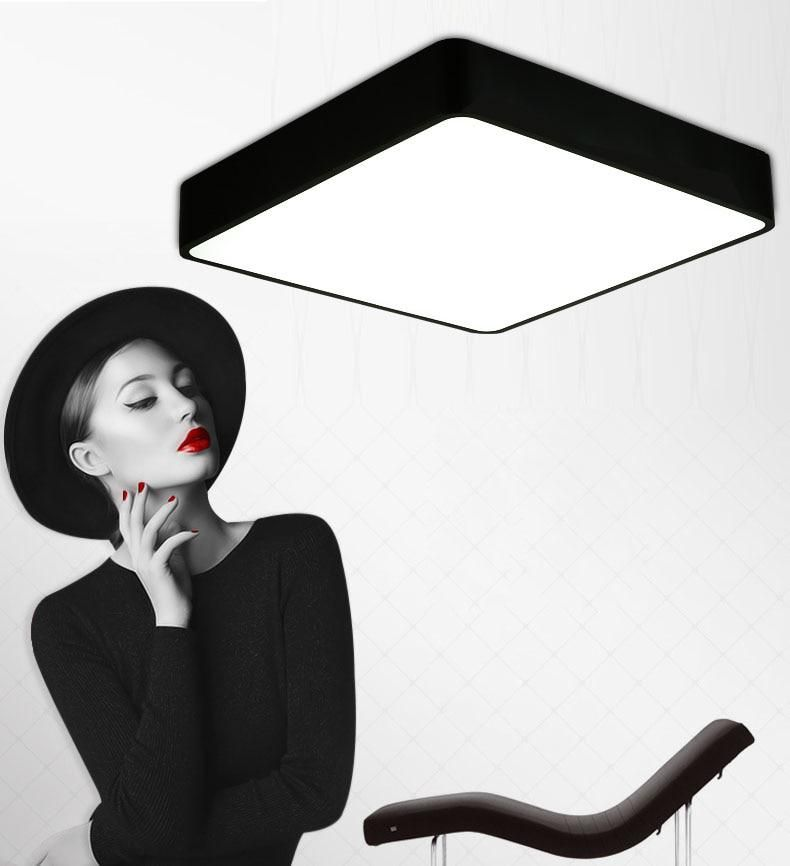 Ceiling Lights Modern Remote Control Square Led Panel Surface Mounted Ceiling Lamp White/black Bathroom Lighting Ac110-240v Luminarias Para Ceiling Lights & Fans