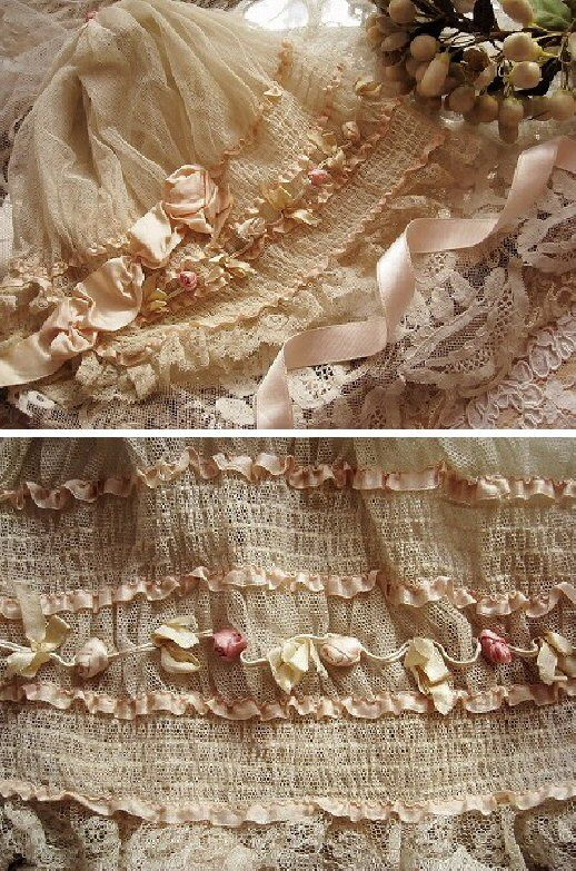 Lovely Vintage Lace And Ribbon Antique Lace Lace Ribbon Linens And Lace