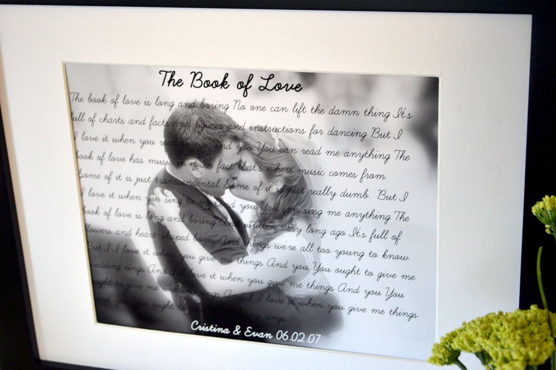 Song lyrics 8 x 10 print Anniversary gift Engagement