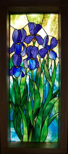 Blue Iris Stained Glass Panal Tiffany Stained Glass Stained Glass Panels Stained Glass Art