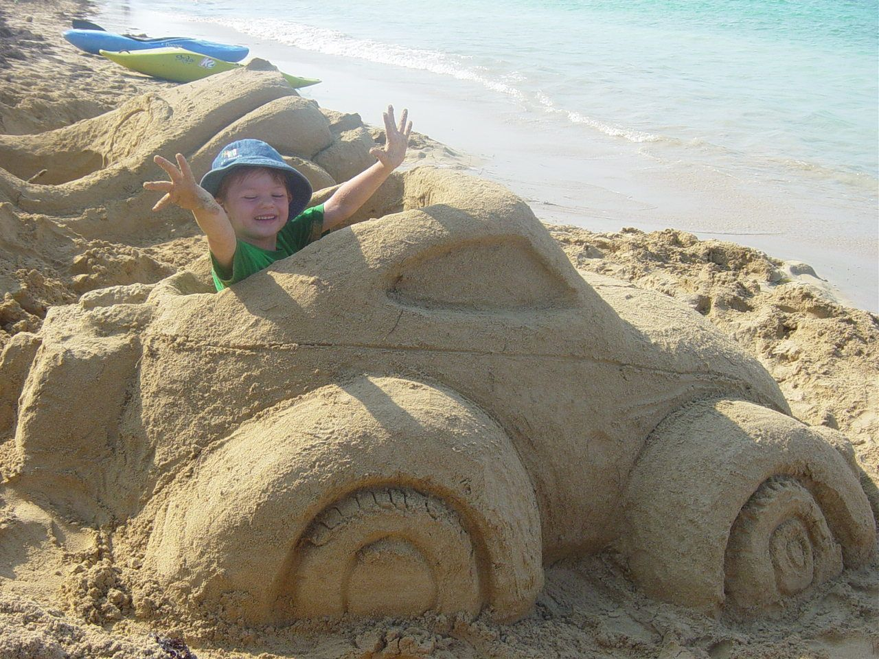 fun idea for a sand castle..just build their favorite car to