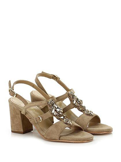 Sandalo donna in pelle con tacco 75 cm cinturino caviglia e pietre Ape Pazza