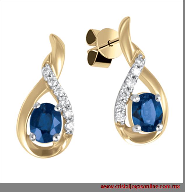 622f70c2e06d Hermoso aretes de oro amarillo 14k con elegantes detalles echos de  diamantes y zafiros
