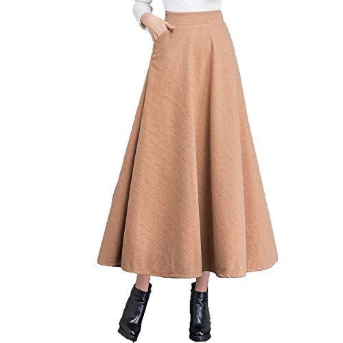 67a56f481b2 Femmes Taille Haute A-Ligne Taille Élastique Patineuse Jupe Longue en Laine  Jupe PlisséeYellow-