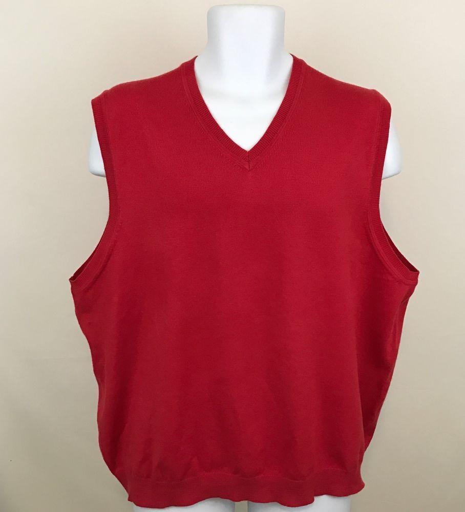 Lands End Mens Red Sweater Vest Size XL 46-48 V-Neck Pullover ...