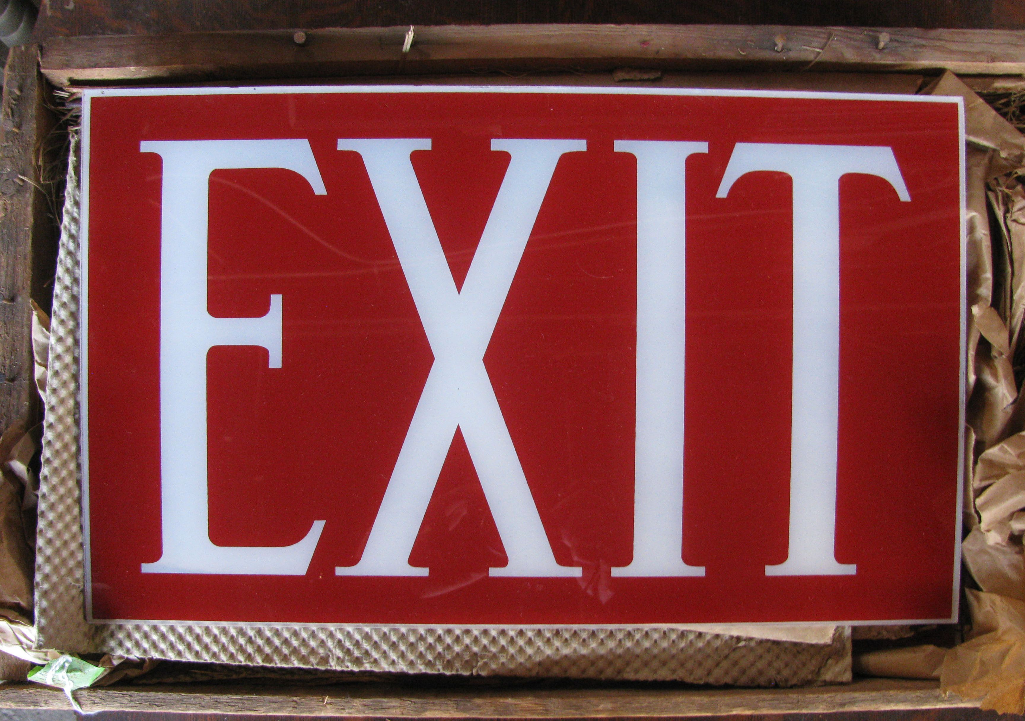 """Glass """"EXIT"""" Signs, new old stock. at Provenance Architecturals"""