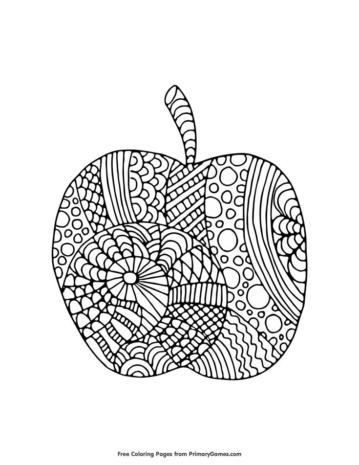 Fall Coloring Page: Apple Zentangle | Mandalas y Dibujo