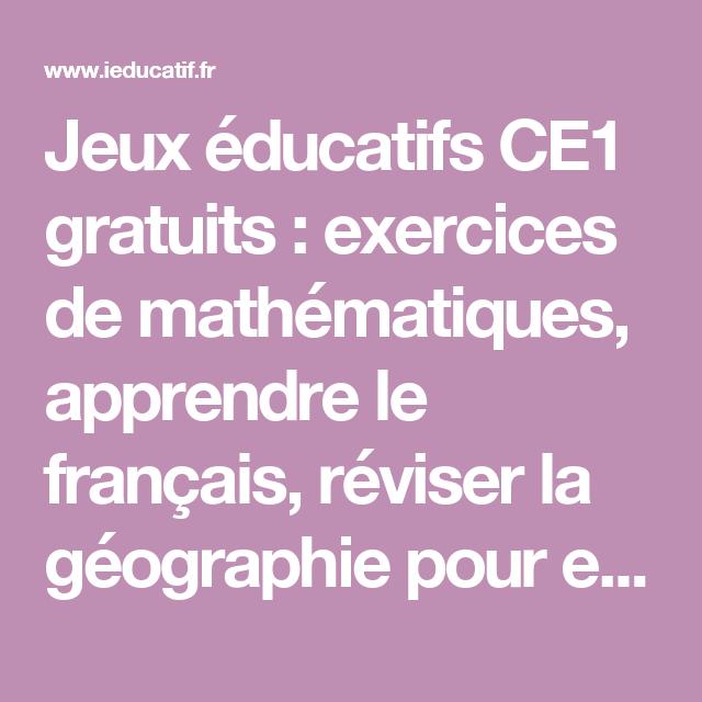 Jeux éducatifs CE1 gratuits : exercices de mathématiques ...