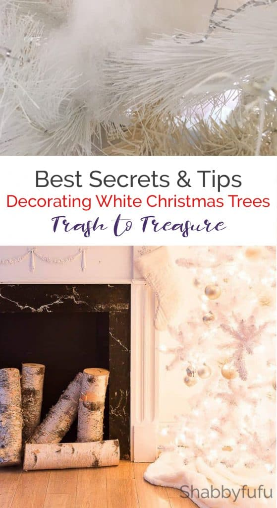 White Christmas Tree trash to treasure makeover ideas Have you ever found a Christmas tree curbside? Do you have a white Christmas tree that has turned yellow? Here is how to fix your fake Christmas tree to look new! #whitechristmastree #christmastreediy #christmashack #salvage #christmasdecorideas #christmasdecorations #holidaydecorideas #christmasdecorationideas #holidaydecoratingideas #holidaydecorations #holidaydecoronabudget #frenchcountrychristmas #glamchristmasdecor #farmhousechristmasdec