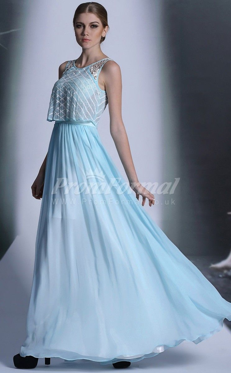 Light Blue Bateau Sleeveless South korea chiffon Spot Dress | MODAS ...