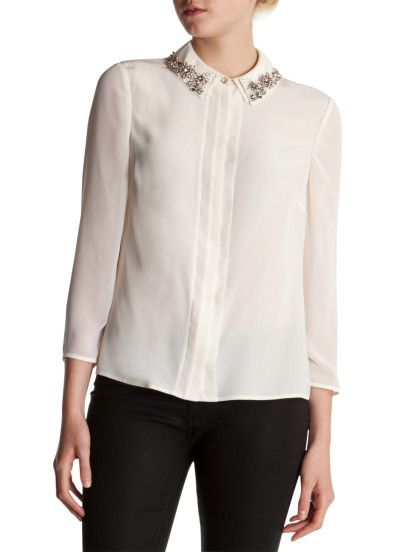 131bc25f3 Ted Baker Seda Embellished Collar Shirt in Beige (Ivory)