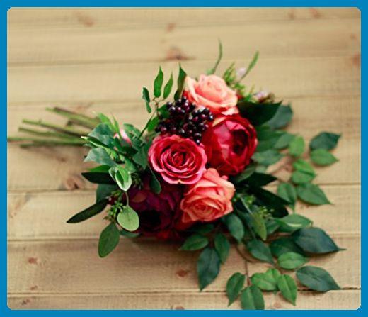 Plum Burgundy Pink and Coral Rose Bride Bouquet- Silk Bouquet - Artificial flowers (*Amazon Partner-Link)
