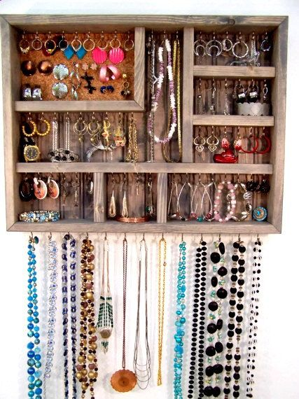 Jewelry Organizer Gray Jewelry Display Case by barbwireandbarnwood