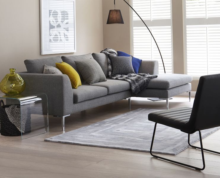 Inspiration Freedom Hilton Modular Sofa With Chaise In Esquire Pewter 1899