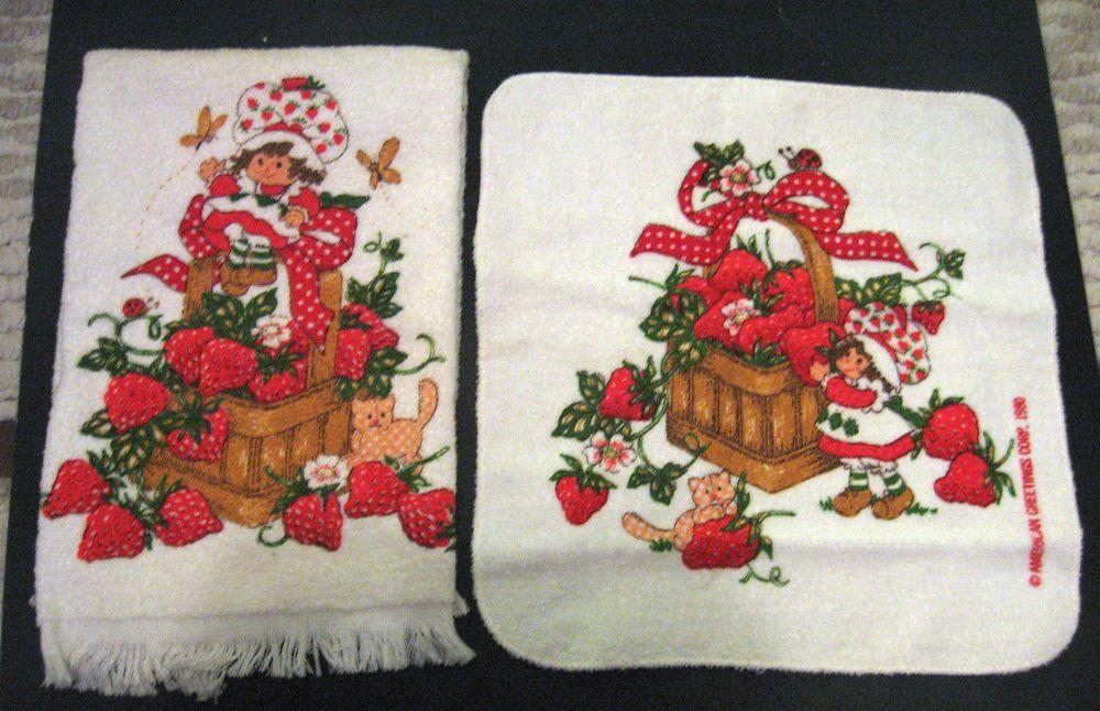 Vintage Strawberry Shortcake Kitchen Bathroom Towel Set New Doll