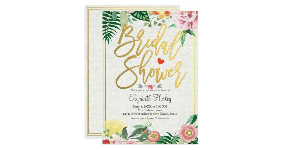 Elegant Vintage Wedding Bridal Shower Floral Formal Invitation Card - formal invitation style