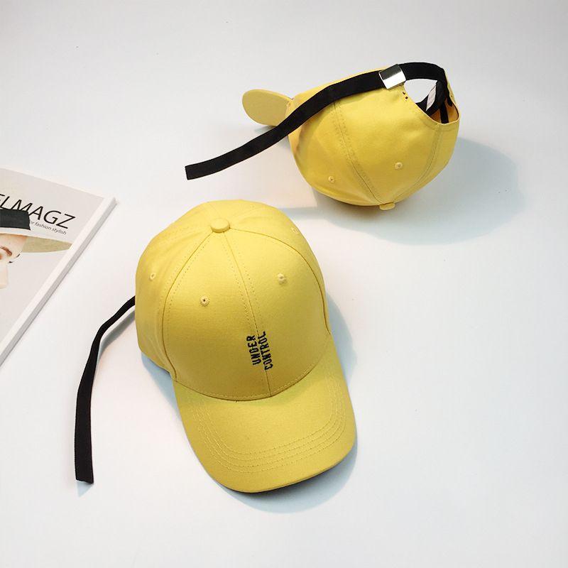 de02f5fa053 HT1032 New Yellow Snapback Caps Embroidery Letters Korea Style Hip Hop Caps  for Men Long Strap