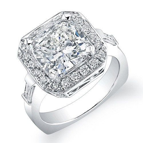 2 70 Carats Princess Cut Diamond Halo Engagement Por Naturediamonds 3999 00