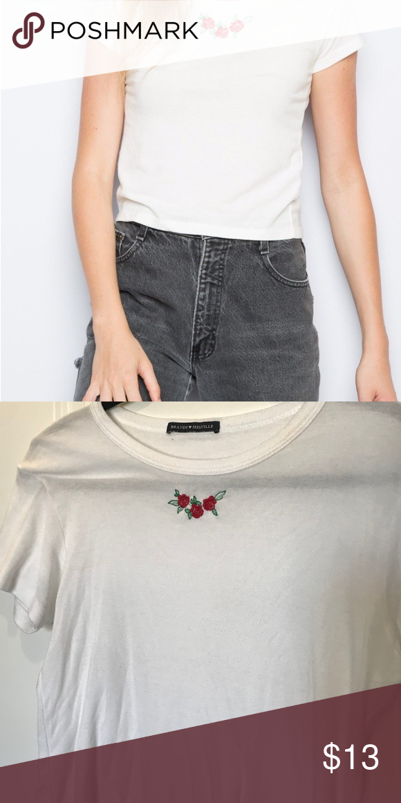 1dd8fa1d4d BRANDY MELVILLE EMBROIDERED TOP 🥀super cute embroidered roses on the front  🥀fits a size