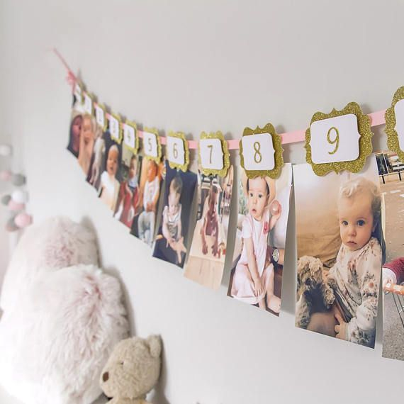 Custom Birthday Photo Wall Banner.First Birthday Ideas.Birthday Wall Photo Hanger.First Birthday Banner.Year Banner.Month Banner.Etsy Seller