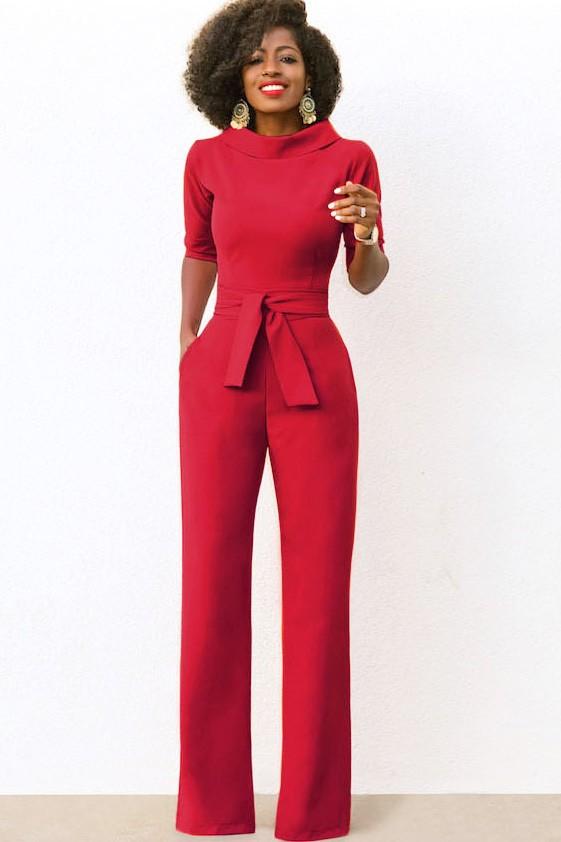 Tie Waist Pockets Half Sleeve Wide Leg Chic Jumpsuit 1
