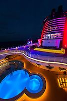 """Beautiful lighting on the top deck of the Art Deco styled cruise ship """"Disney Dream"""", Disney Cruise Line, sailing from Florida to the Bahamas"""