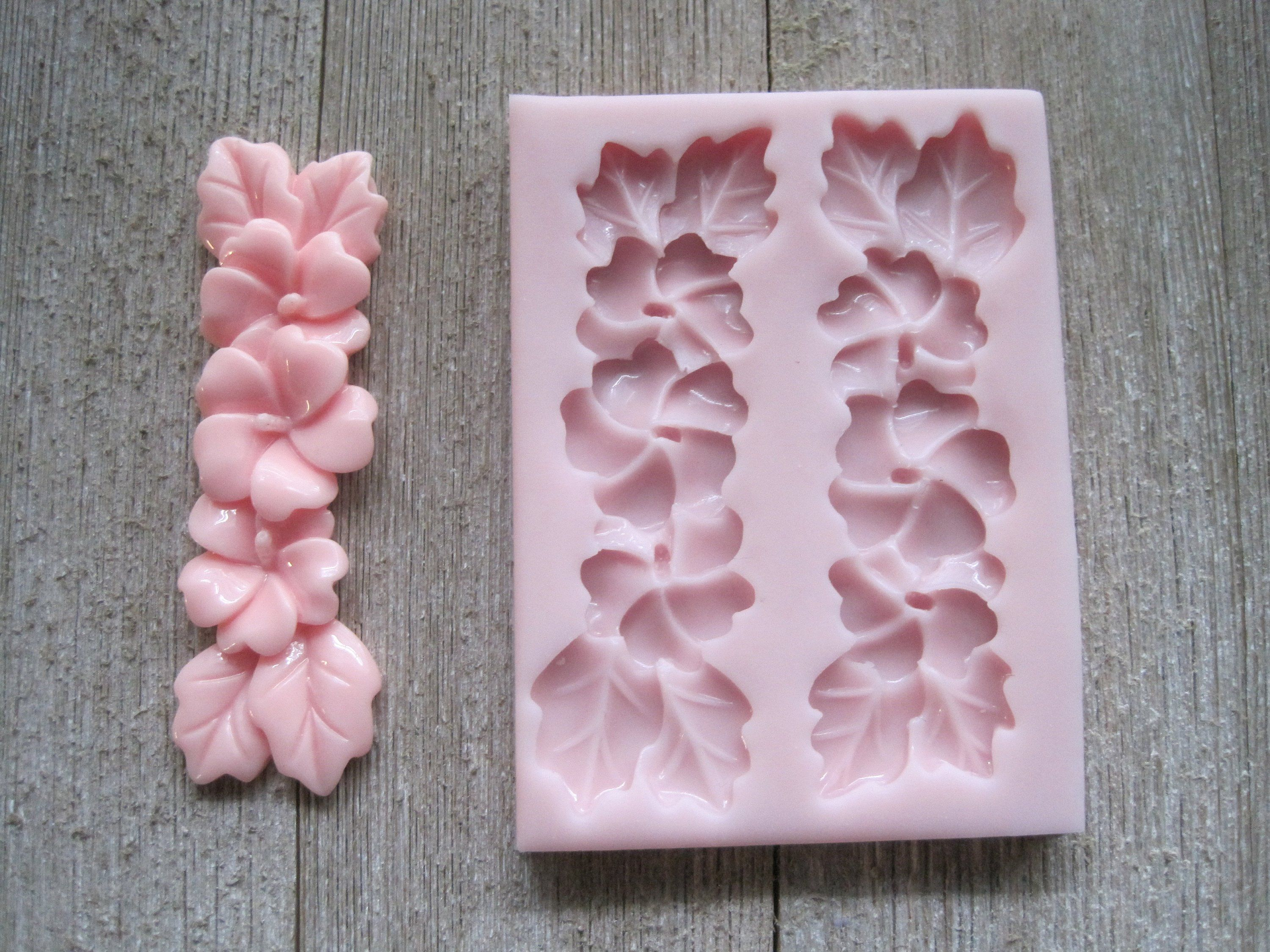 Strand Of Hibiscus Flowers And Leaves Silicone Mold Hibiscus Flower Mold Flower Mold Fondant Mold Re Flower Molding Silicone Molds Polymer Clay Flowers